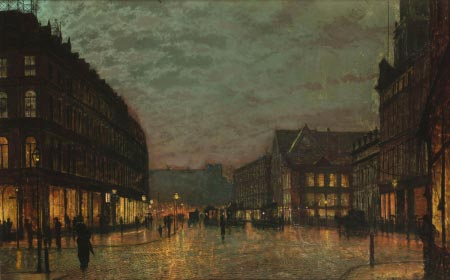 John Atkinson Grimshaw - Boar Lane Leeds by Lamplight