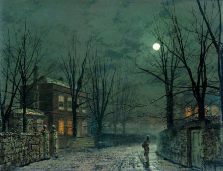 John Atkinson Grimshaw - The Old Hall Under Moonlight