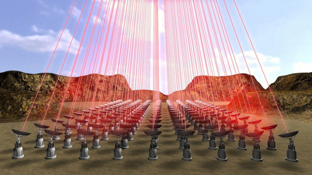 Breakthrough Starshot - Immagine artistica dei raggi laser