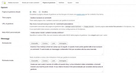 Subscribe to Comments Reloaded - scheda Pagine di gestione