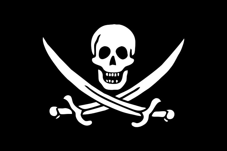 Jolly Roger con teschio e due sciabole incrociate