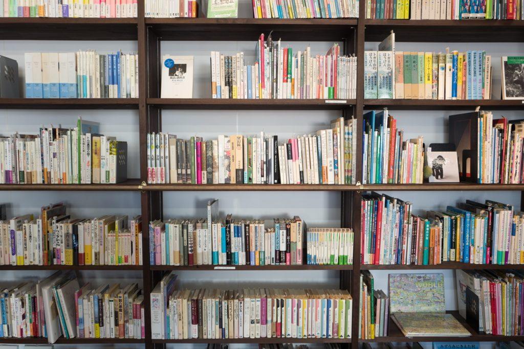 Libreria - Libri in file sugli scaffali