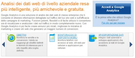 Homepage di Google Analytics
