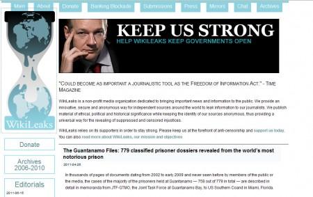 Homepage di WikiLeaks