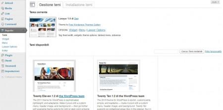 Un esempio di come appare il menu Aspetto di WordPress