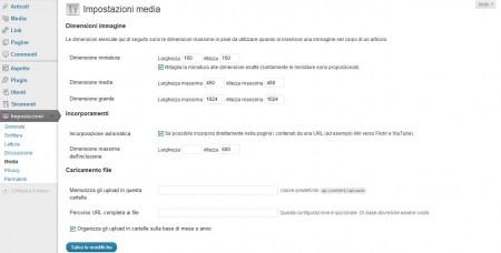 Uno dei sottomenu delle Impostazioni di WordPress
