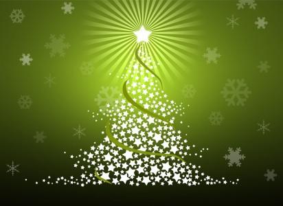 Albero di Natale composto da stelle su sfondo verde