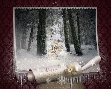Calendario in 3D con neve che esce e albero dorato