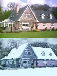 Casa estivata trasfromata con strati di neve