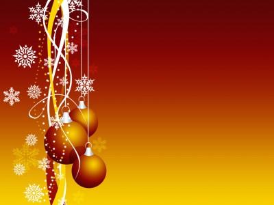 Sfondo da rosso a giallo con palle di Natale a sinistra