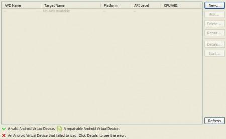 Schermata vuota grigia per configurare AVD in Eclipse