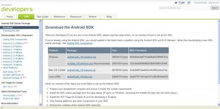Pagina sito con elenco SDK da scaricare