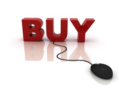 Scritta rossa Buy con mouse