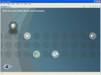 Schermata iniziale di Eclipse con menu e pulsanti