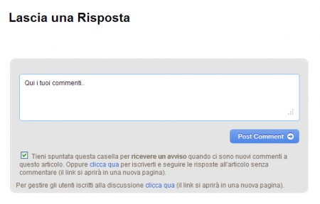 Subscribe to Comments Reloaded - pagina del commento