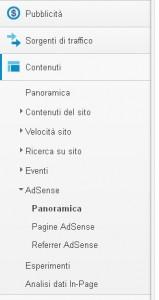 Schermata di Google Analytics per agganciare con Adsense