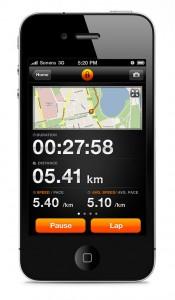 Una schermata con mappa di Sports-tracker