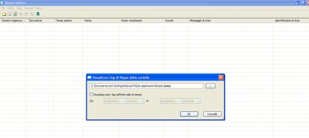 Schermata di SkypeLogView
