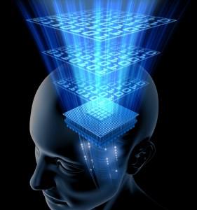 Piani di luce azzurra su sagoma di testa umana