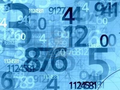 Numeri a random su sfondo azzurro